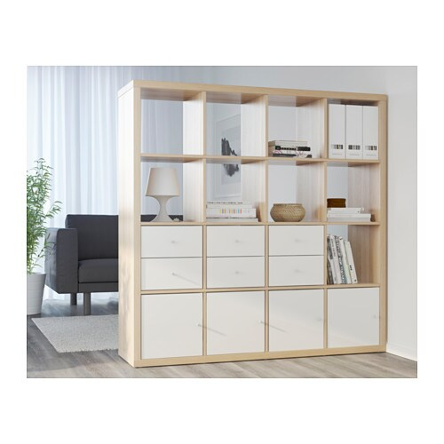 kallax shelving unit white stained oak effect 147x147 cm ikea. Black Bedroom Furniture Sets. Home Design Ideas