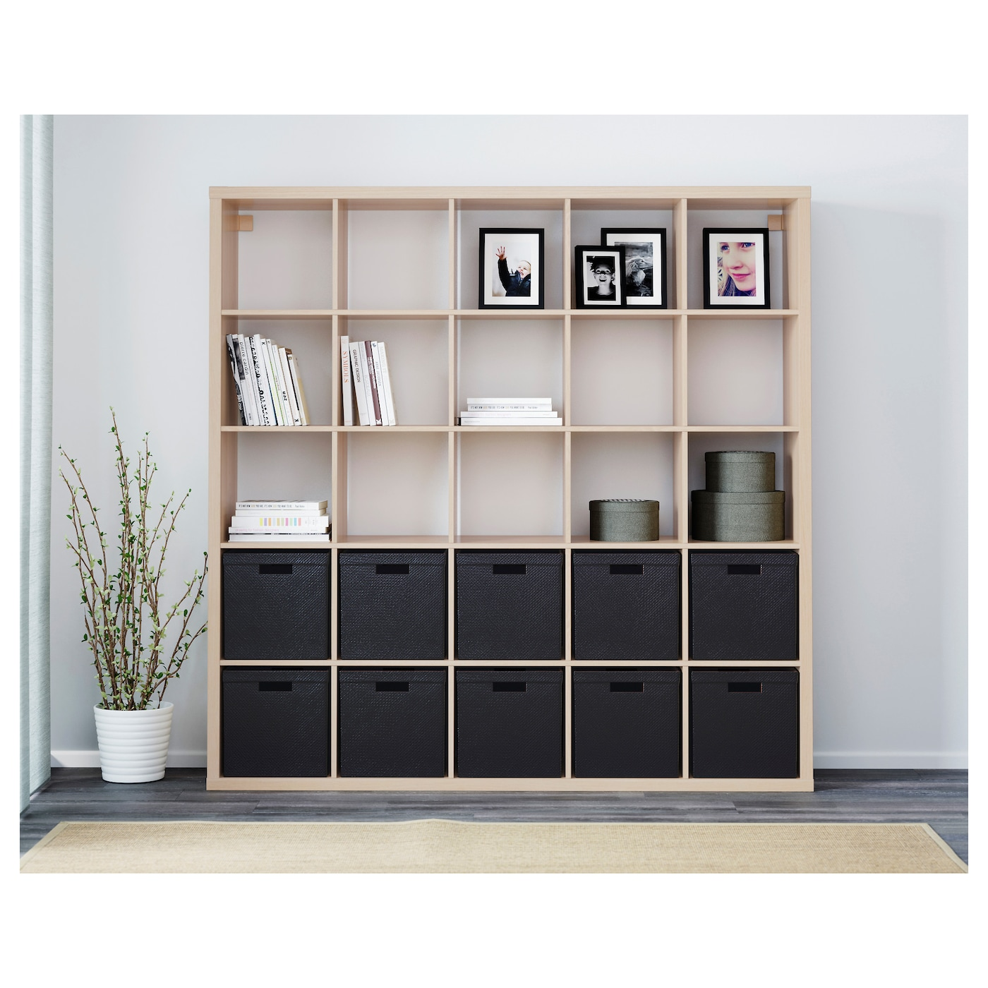 kallax shelving unit white stained oak effect 182 x 182 cm. Black Bedroom Furniture Sets. Home Design Ideas
