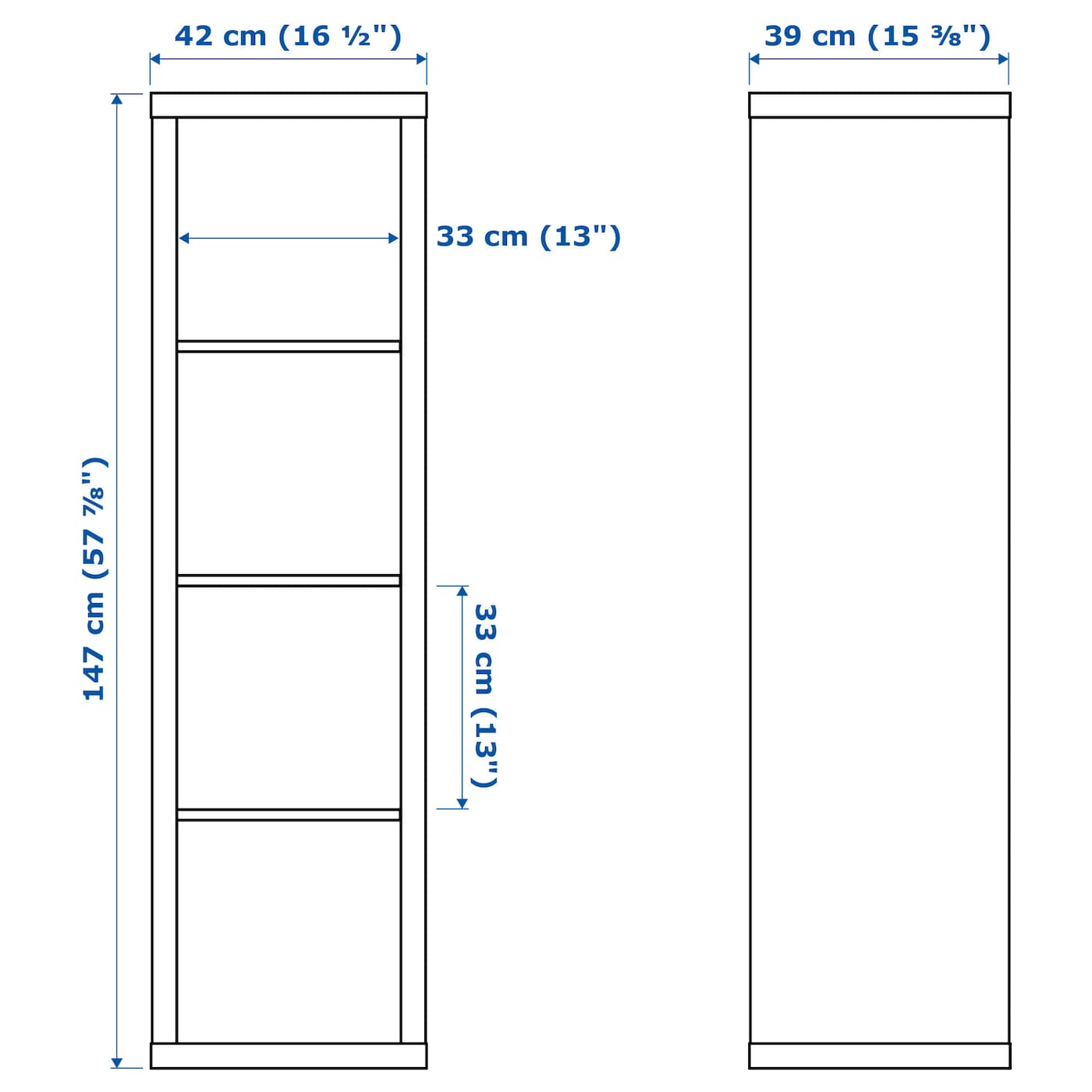 kallax shelving unit white 42 x 147 cm - ikea