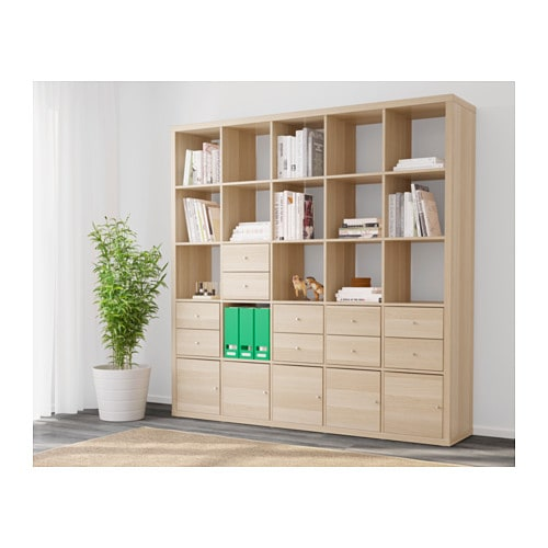 kallax shelving unit with 10 inserts white stained oak effect 182x182 cm ikea. Black Bedroom Furniture Sets. Home Design Ideas
