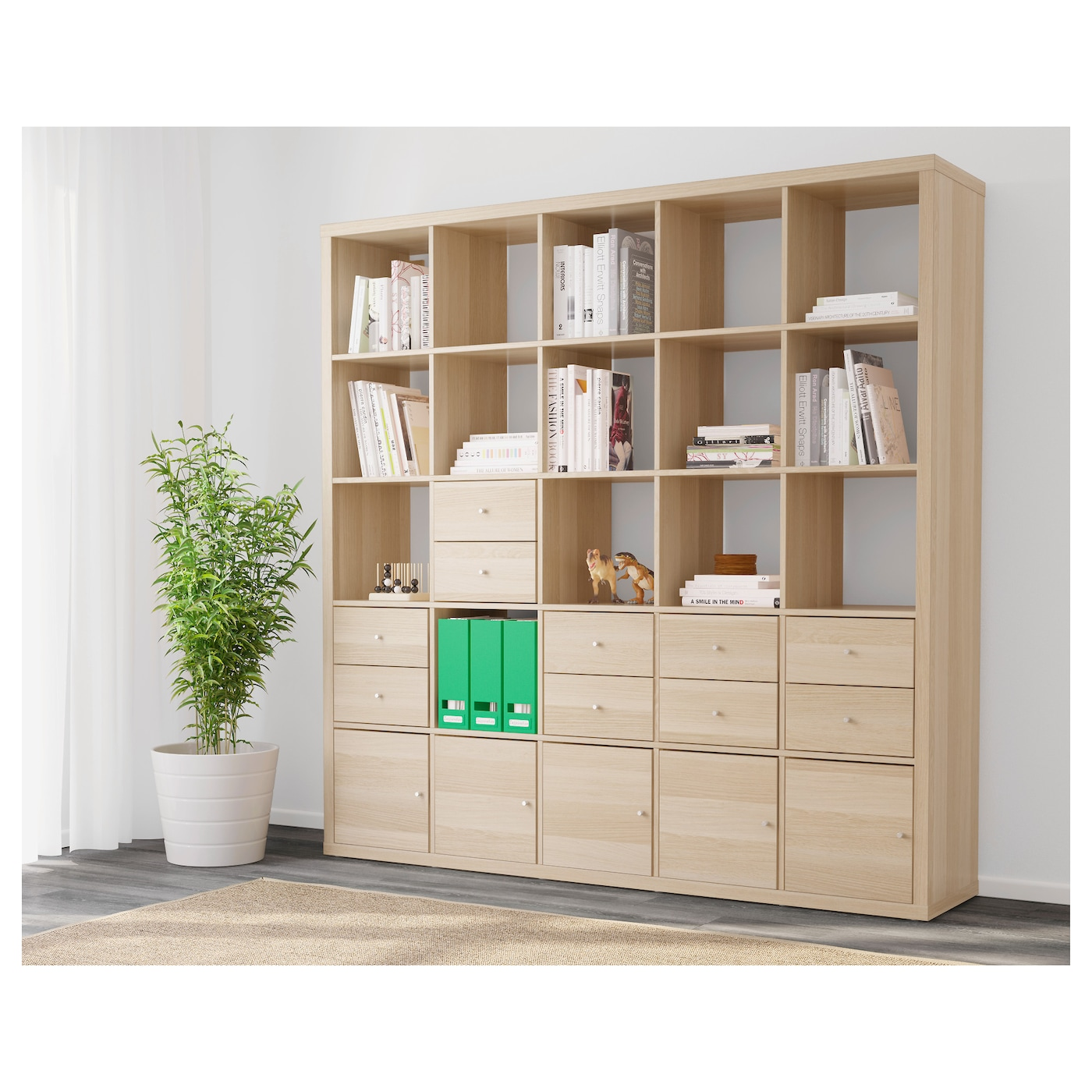 kallax shelving unit with 10 inserts white stained oak effect 182 x 182 cm ikea. Black Bedroom Furniture Sets. Home Design Ideas