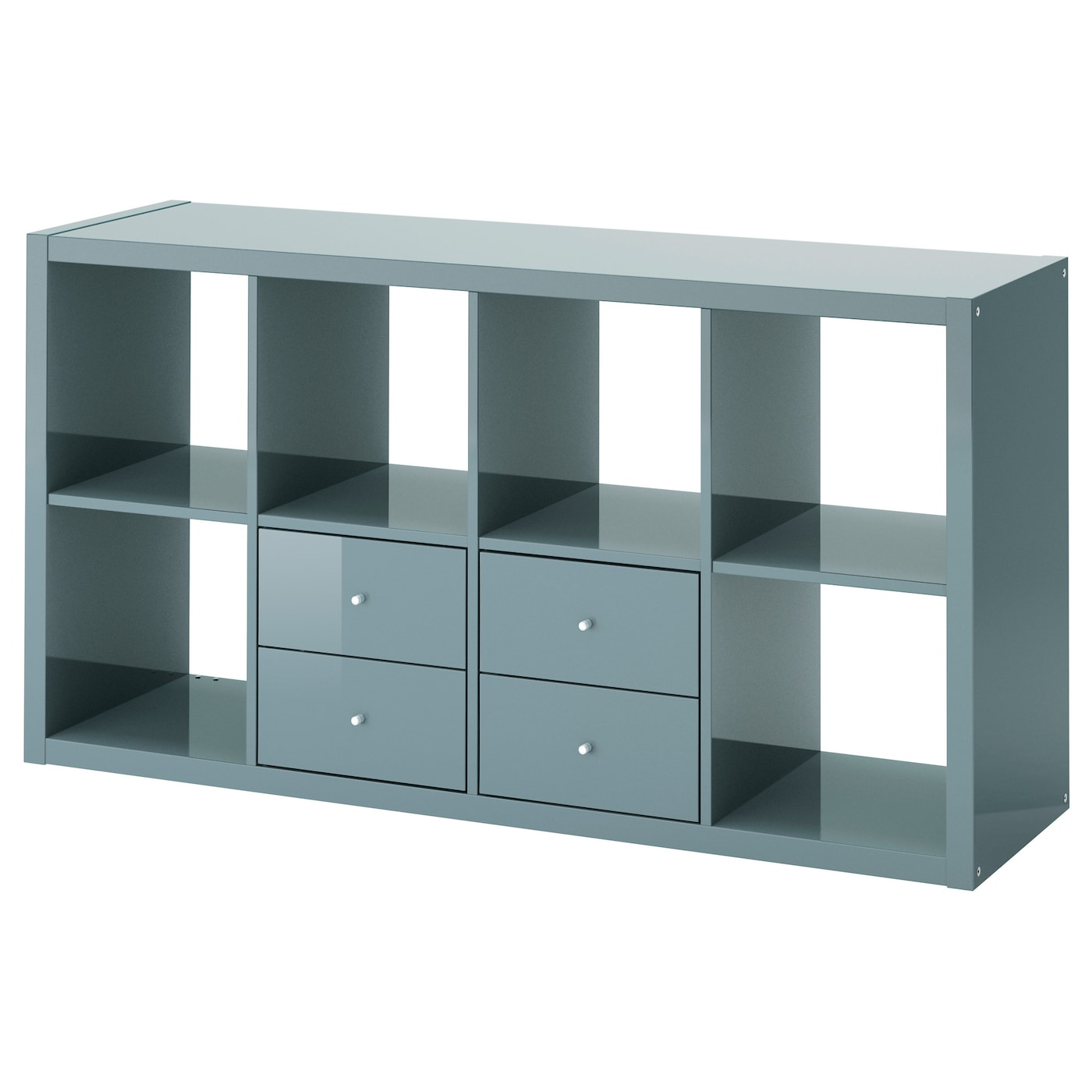 kallax shelving unit with 2 inserts high gloss grey