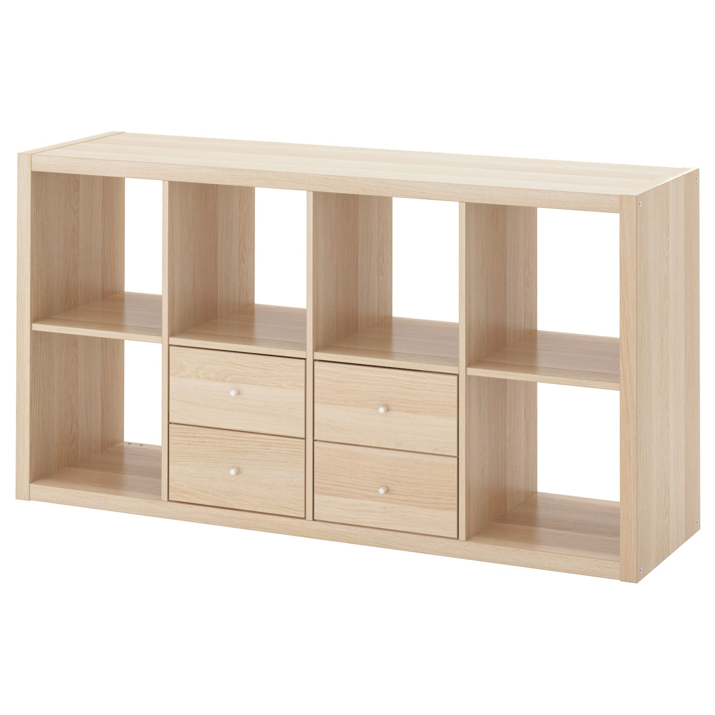 kallax shelving unit with 2 inserts white stained oak effect 147x77 cm ikea. Black Bedroom Furniture Sets. Home Design Ideas