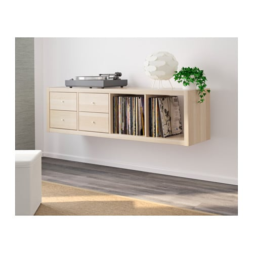 kallax shelving unit with 2 inserts white stained oak effect 147x42 cm ikea. Black Bedroom Furniture Sets. Home Design Ideas