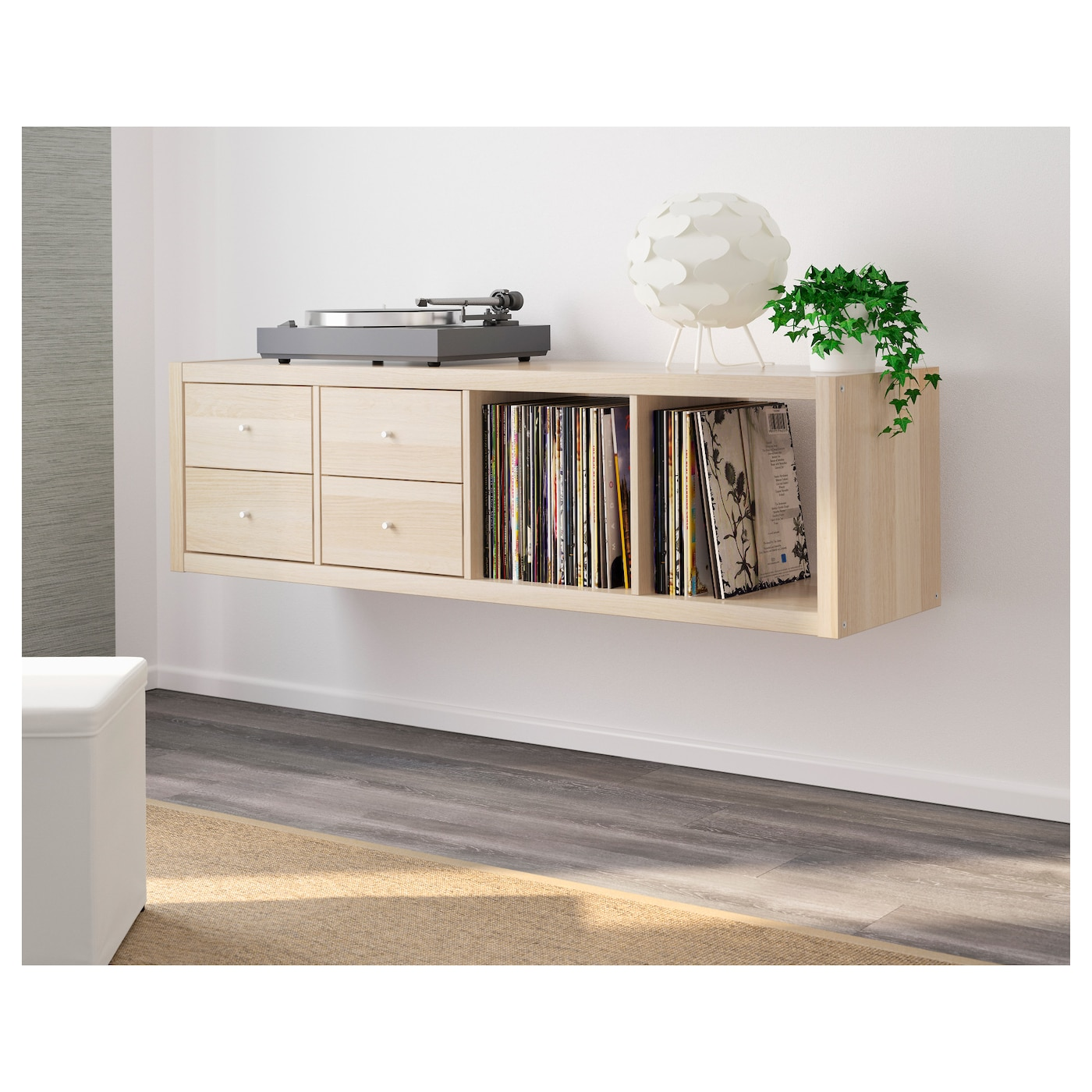 kallax shelving unit with 2 inserts white stained oak effect 42 x 147 cm ikea. Black Bedroom Furniture Sets. Home Design Ideas
