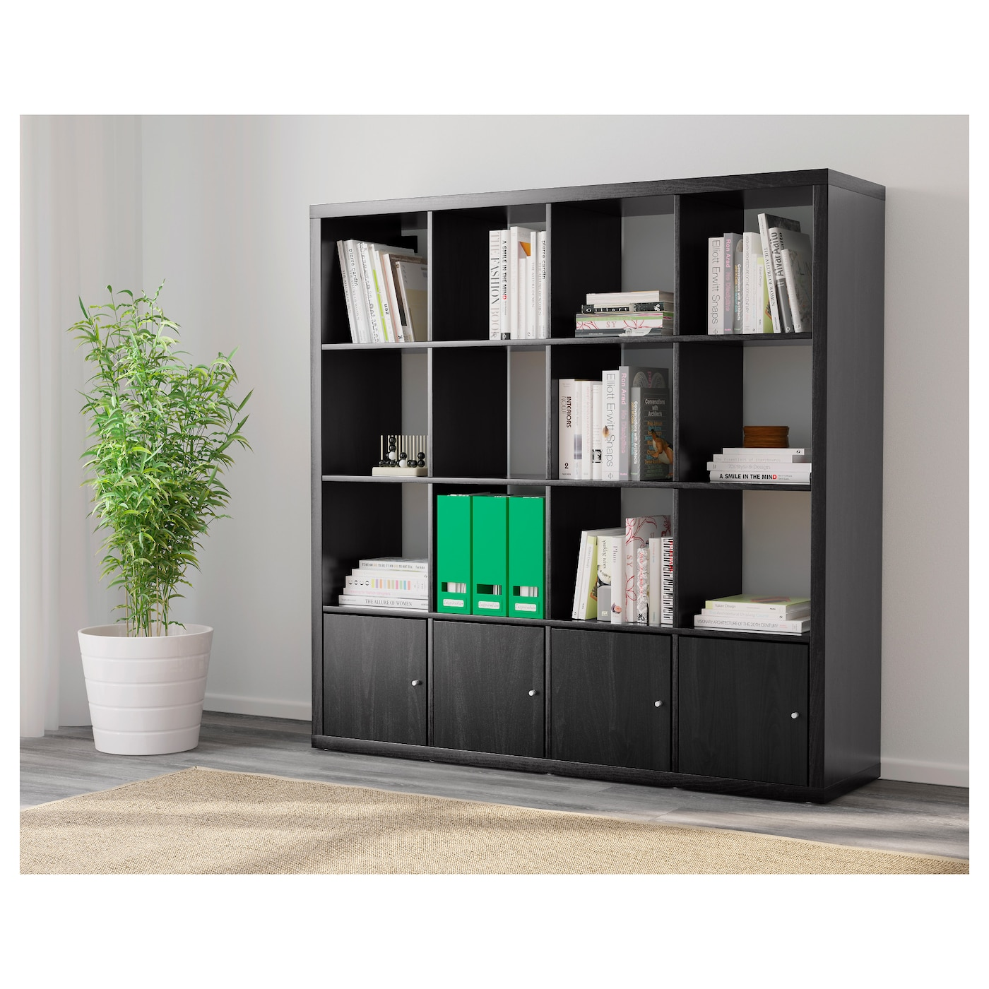 kallax shelving unit with 4 inserts black brown 147 x 147 cm ikea. Black Bedroom Furniture Sets. Home Design Ideas