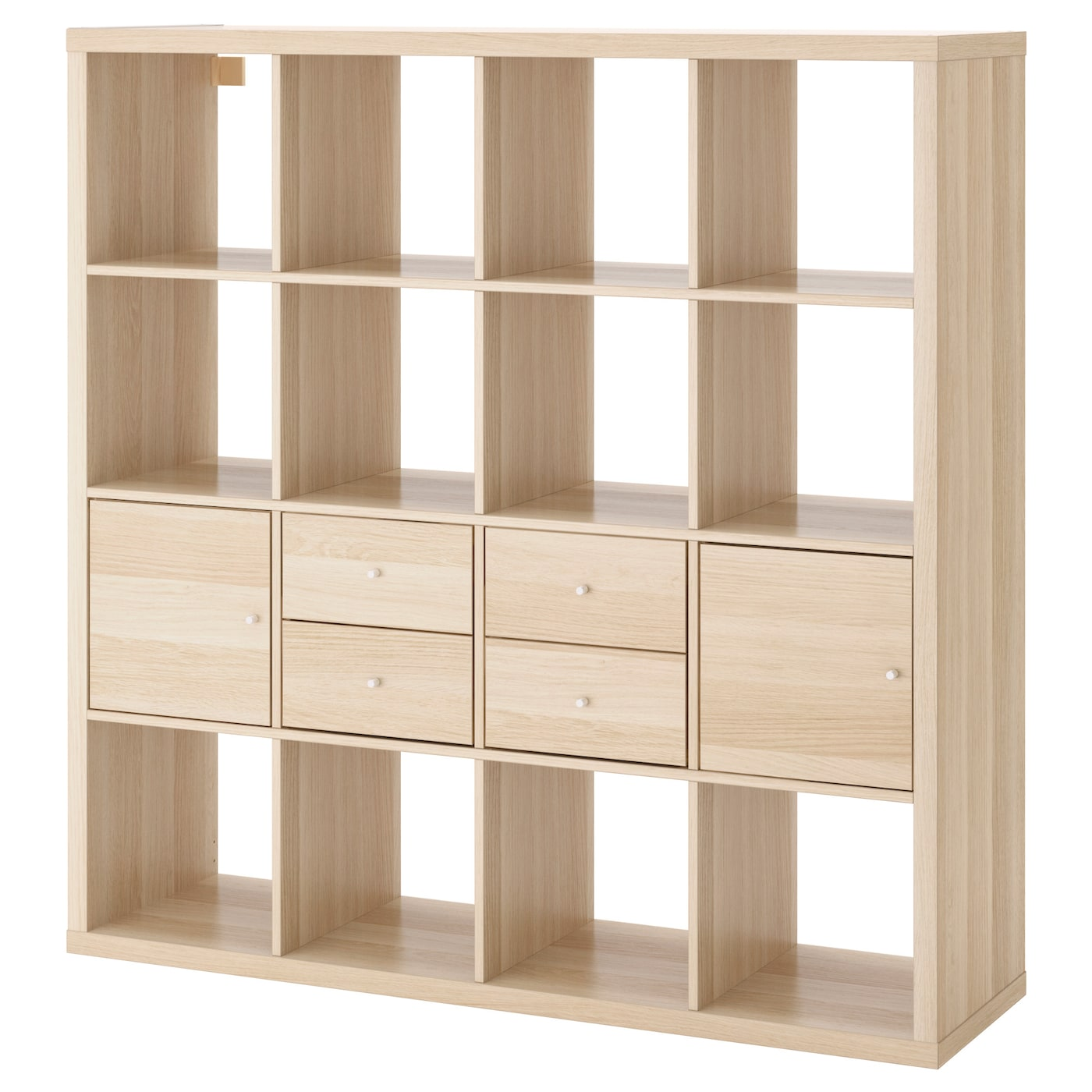 kallax shelving unit with 4 inserts white stained oak effect 147x147 cm ikea. Black Bedroom Furniture Sets. Home Design Ideas