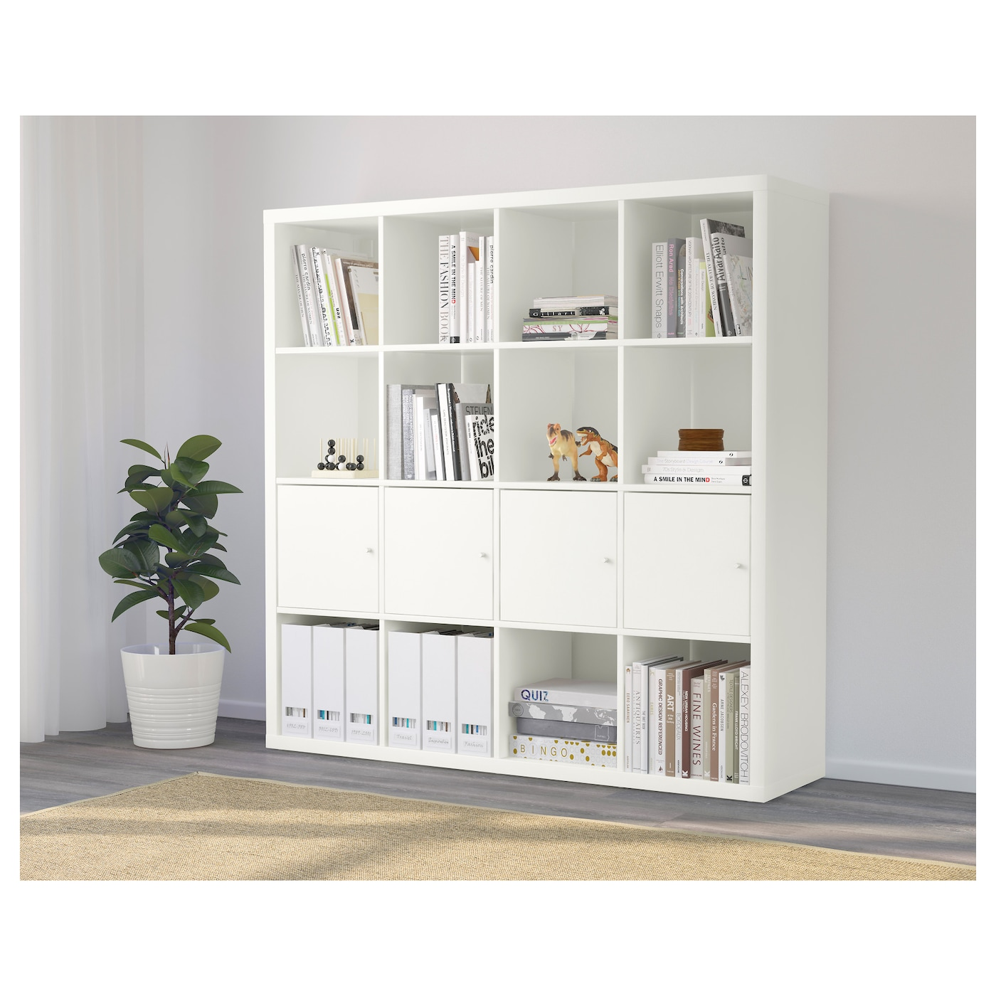 kallax shelving unit with 4 inserts white 147 x 147 cm ikea. Black Bedroom Furniture Sets. Home Design Ideas