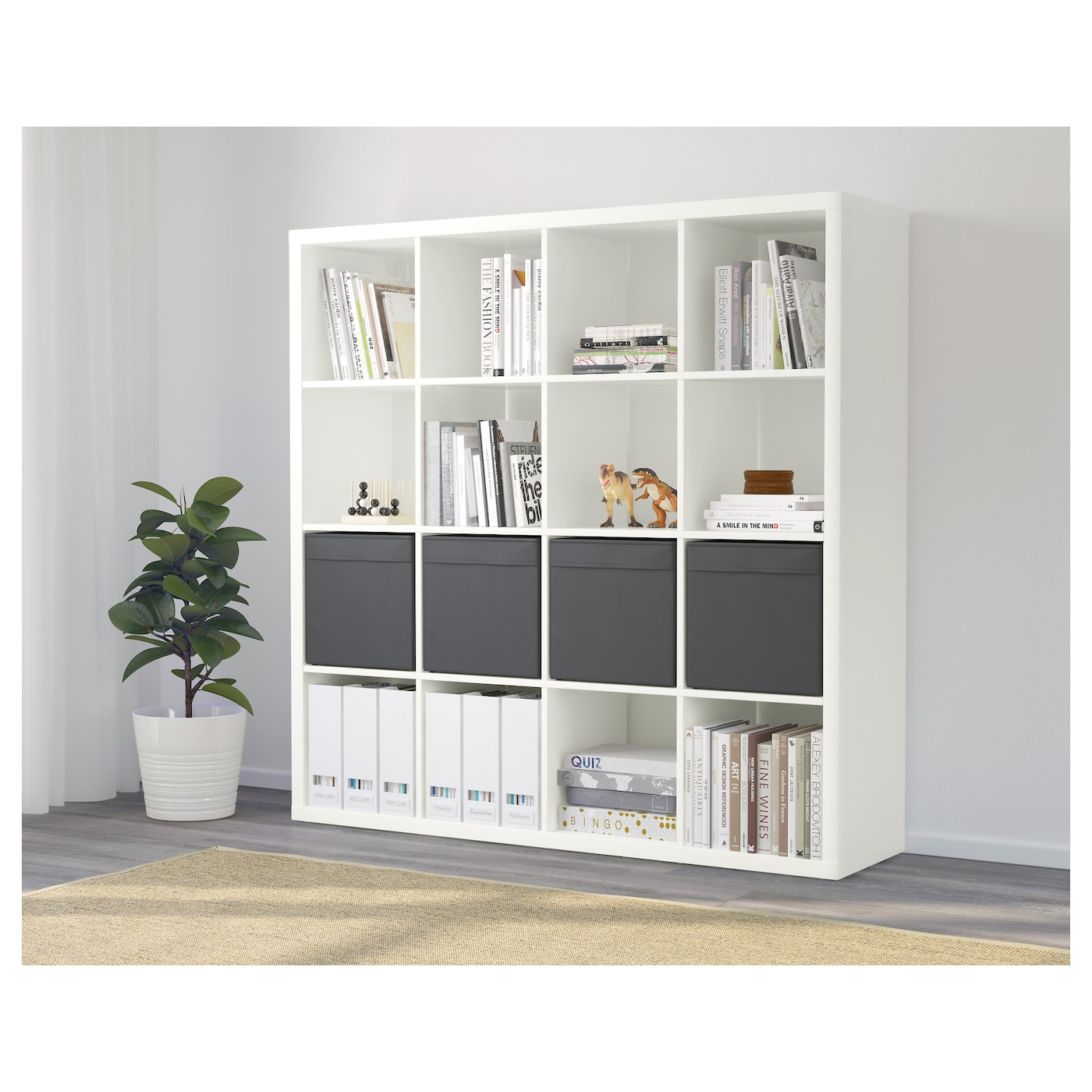 kallax shelving unit with 4 inserts white 147x147 cm ikea. Black Bedroom Furniture Sets. Home Design Ideas