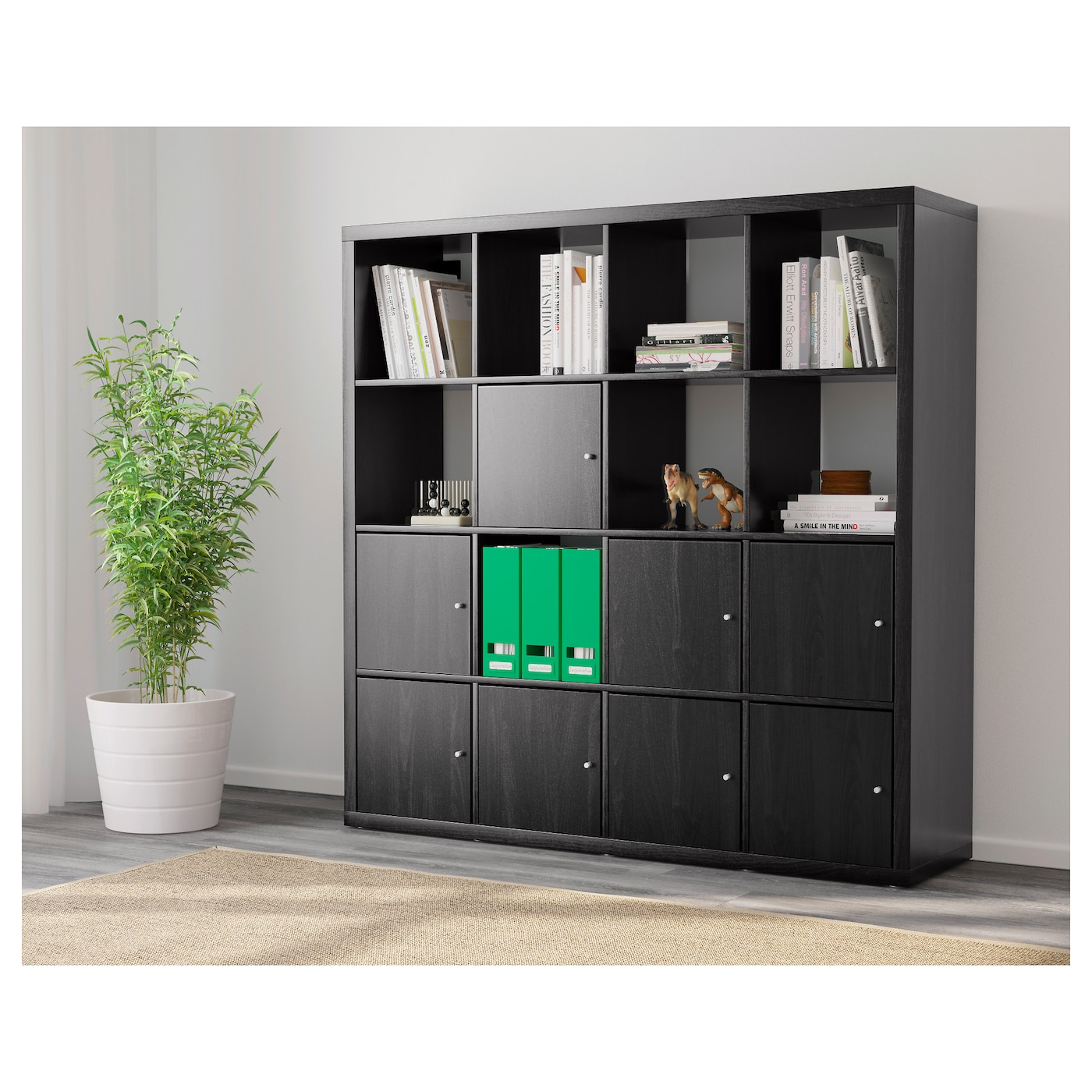 kallax shelving unit with 8 inserts black brown 147x147 cm. Black Bedroom Furniture Sets. Home Design Ideas