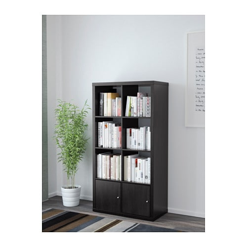 kallax shelving unit with doors black brown 77x147 cm ikea. Black Bedroom Furniture Sets. Home Design Ideas