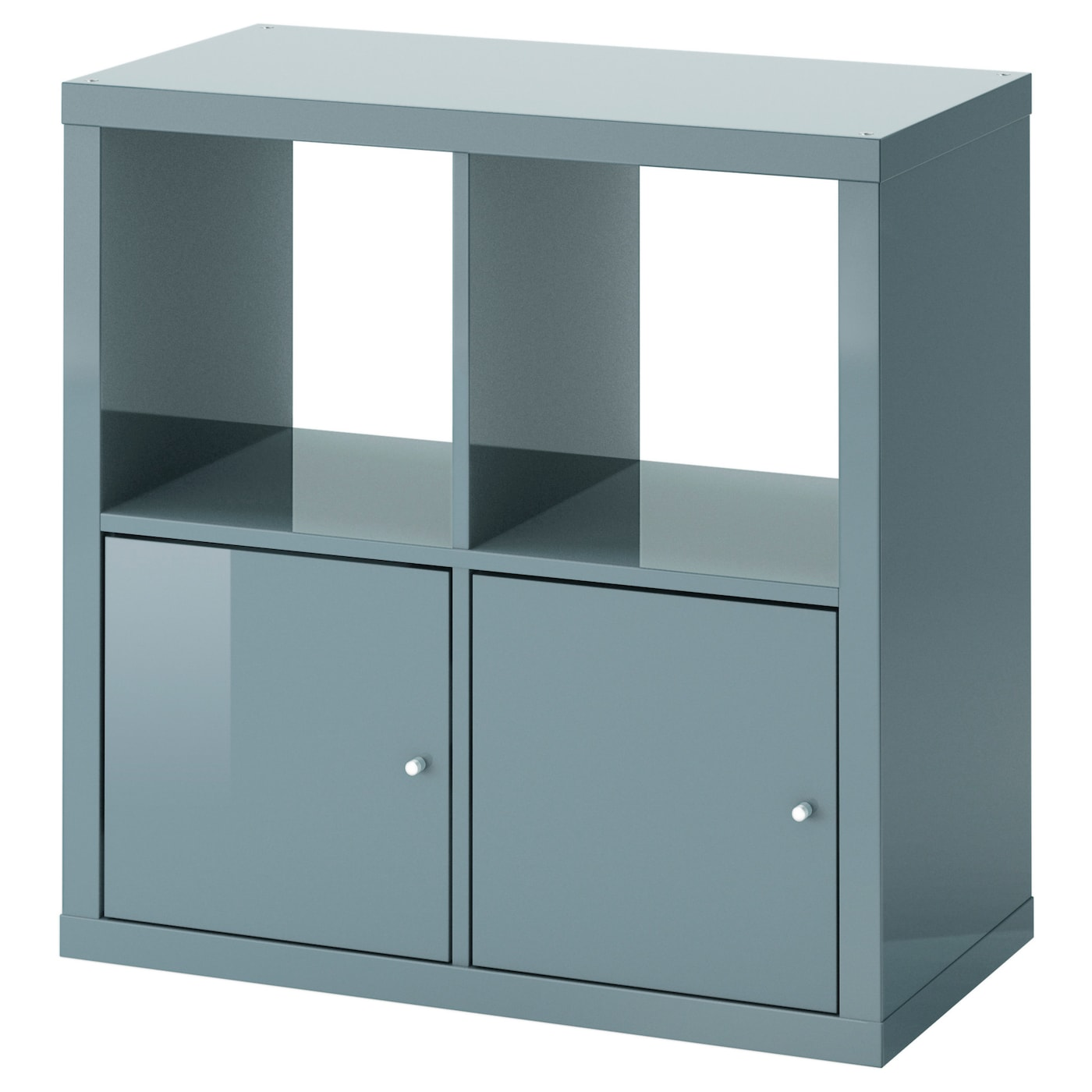 kallax shelving unit with doors high gloss grey turquoise 77x77 cm ikea. Black Bedroom Furniture Sets. Home Design Ideas