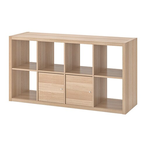 Kallax Shelving Unit With Doors White Stained Oak Effect