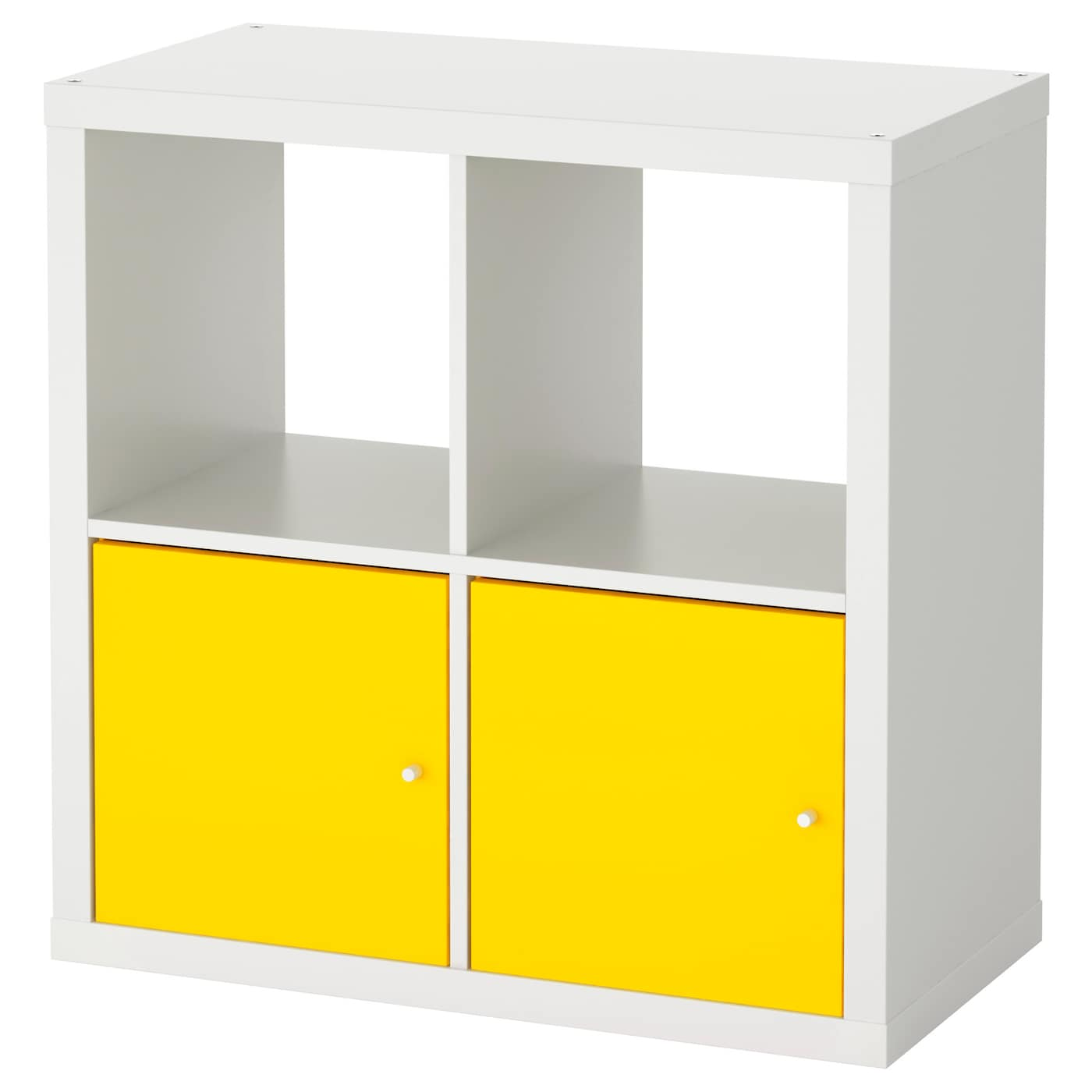 kallax shelving unit with doors white yellow 77x77 cm ikea. Black Bedroom Furniture Sets. Home Design Ideas