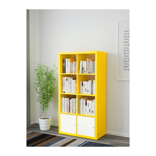 kallax shelving unit with doors yellow white 77x147 cm ikea. Black Bedroom Furniture Sets. Home Design Ideas