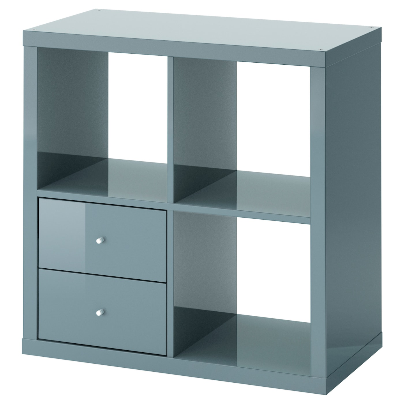 kallax shelving unit with drawers high gloss grey turquoise 77x77 cm ikea. Black Bedroom Furniture Sets. Home Design Ideas