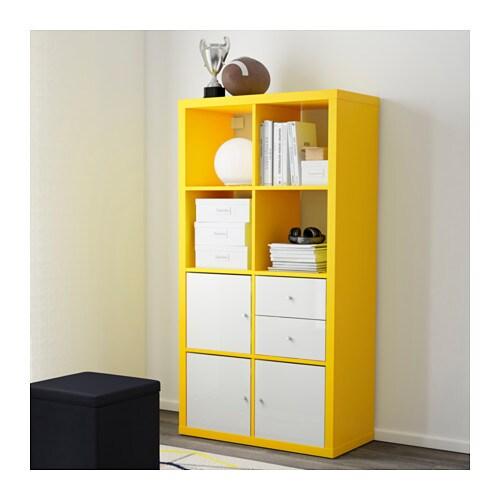 kallax shelving unit yellow 77x147 cm ikea. Black Bedroom Furniture Sets. Home Design Ideas