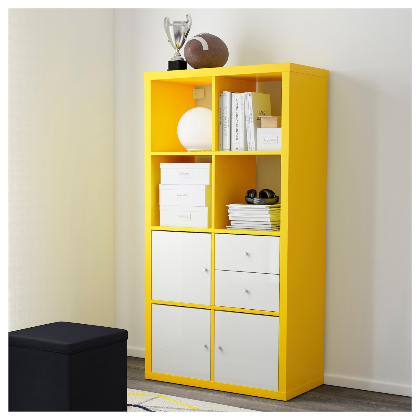 kallax shelving unit yellow 77 x 147 cm ikea. Black Bedroom Furniture Sets. Home Design Ideas