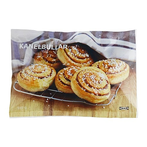 KANELBULLAR Ready to bake cinnamon bun, frozen IKEA A wheat dough cinnamon bun.   Bake in the oven for 15 minutes.