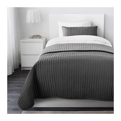 karit bedspread and cushion cover grey 180x280 40x65 cm ikea. Black Bedroom Furniture Sets. Home Design Ideas