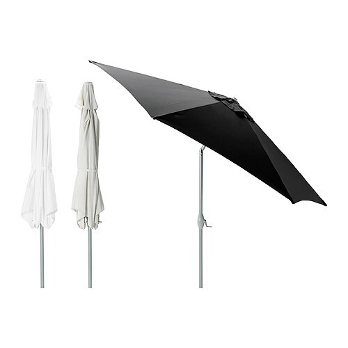 ikea large 3 0m parasol patio garden umbrella tilt crank white beige grey ebay. Black Bedroom Furniture Sets. Home Design Ideas