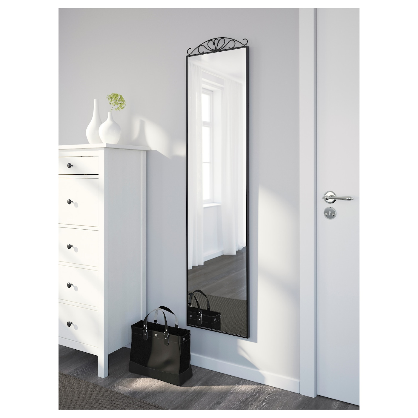 Karmsund standing mirror black 40x167 cm ikea ikea karmsund standing mirror you can place the mirror on the floor or hang it on amipublicfo Images