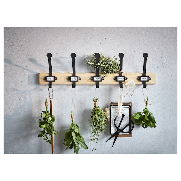 KARTOTEK rack with 5 hooks pine/grey 60 cm 7 cm 18 cm