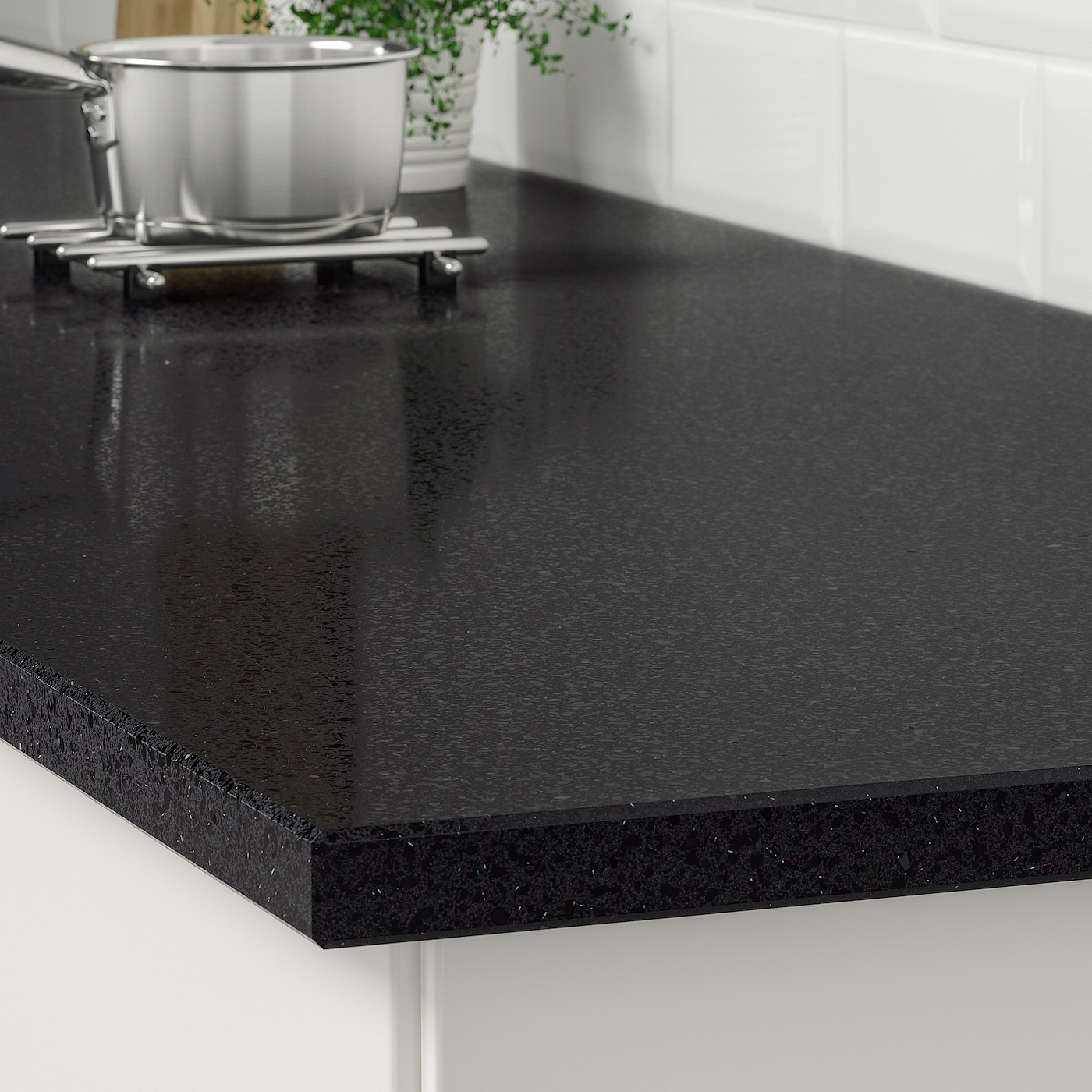 Kasker Black With Mineral Glitter Effect Quartz Custom Made Worktop 1 M X3 0 Cm Ikea