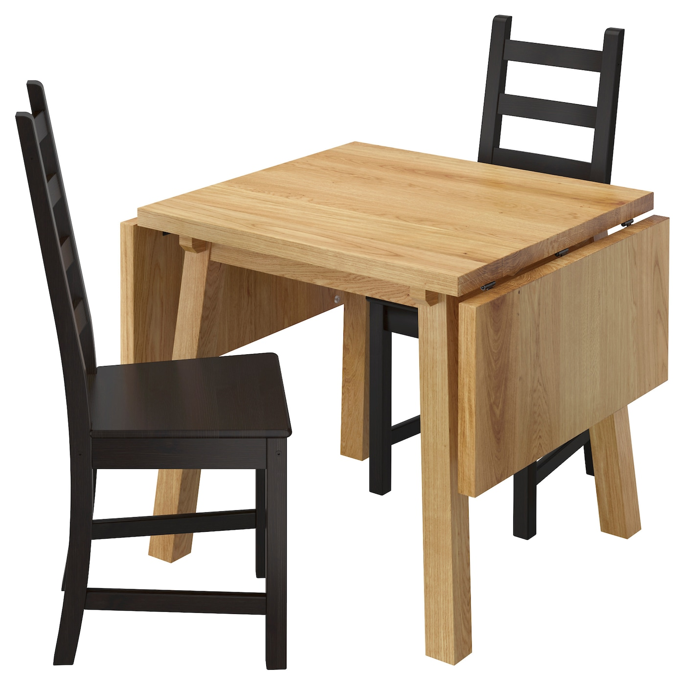dining table with 2 chairs. ikea kaustby/mÖckelby table and 2 chairs dining with o