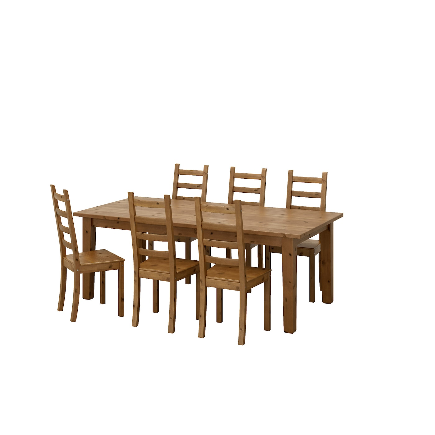 Kaustby storn s table and 6 chairs antique stain 201 cm ikea for Table 4 personnes ikea