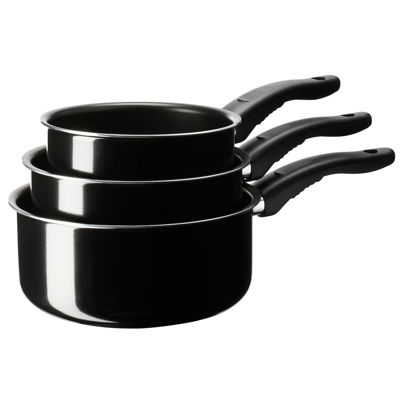 IKEA KAVALKAD saucepan, set of 3 The pan's low weight makes it easy to handle when filled with food.