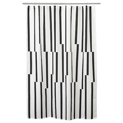 KINNEN Shower curtain, white/black, 180x180 cm