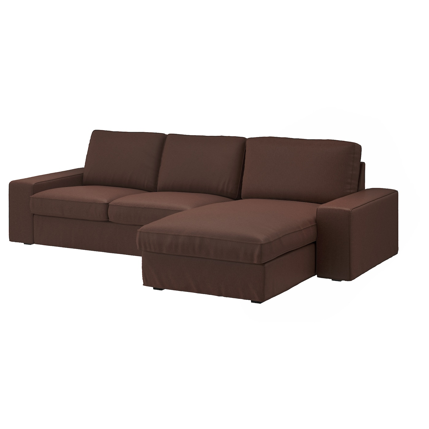 Kivik 3 seat sofa with chaise longue borred dark brown ikea for Brown chaise longue