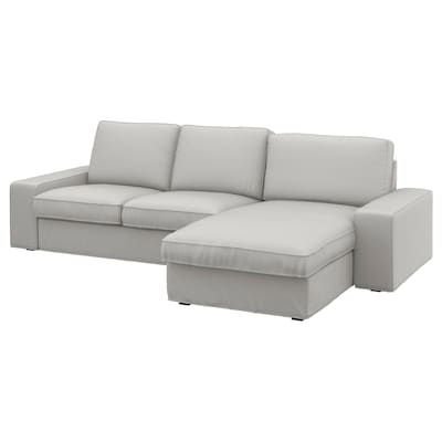 KIVIK 3-seat sofa, with chaise longue/Ramna light grey