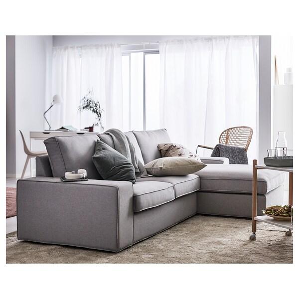 KIVIK 3-seat sofa, with chaise longue/Ramna light grey