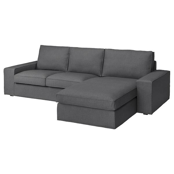 KIVIK 3-seat sofa with chaise longue/Skiftebo dark grey 280 cm 83 cm 95 cm 163 cm 60 cm 124 cm 45 cm