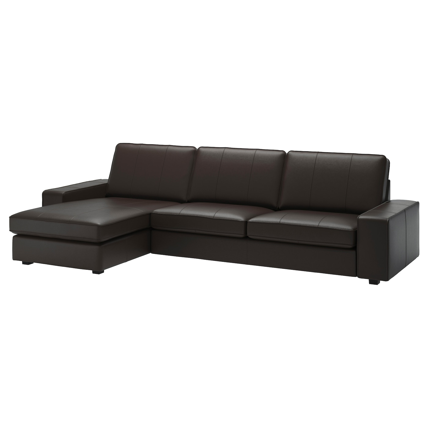 Kivik 4 seat sofa with chaise longue grann bomstad dark for Brown chaise longue