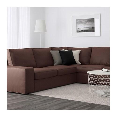 Ikea Corner Sofa Brown: KIVIK Corner Sofa 2+2 With Chaise Longue Borred Dark Brown