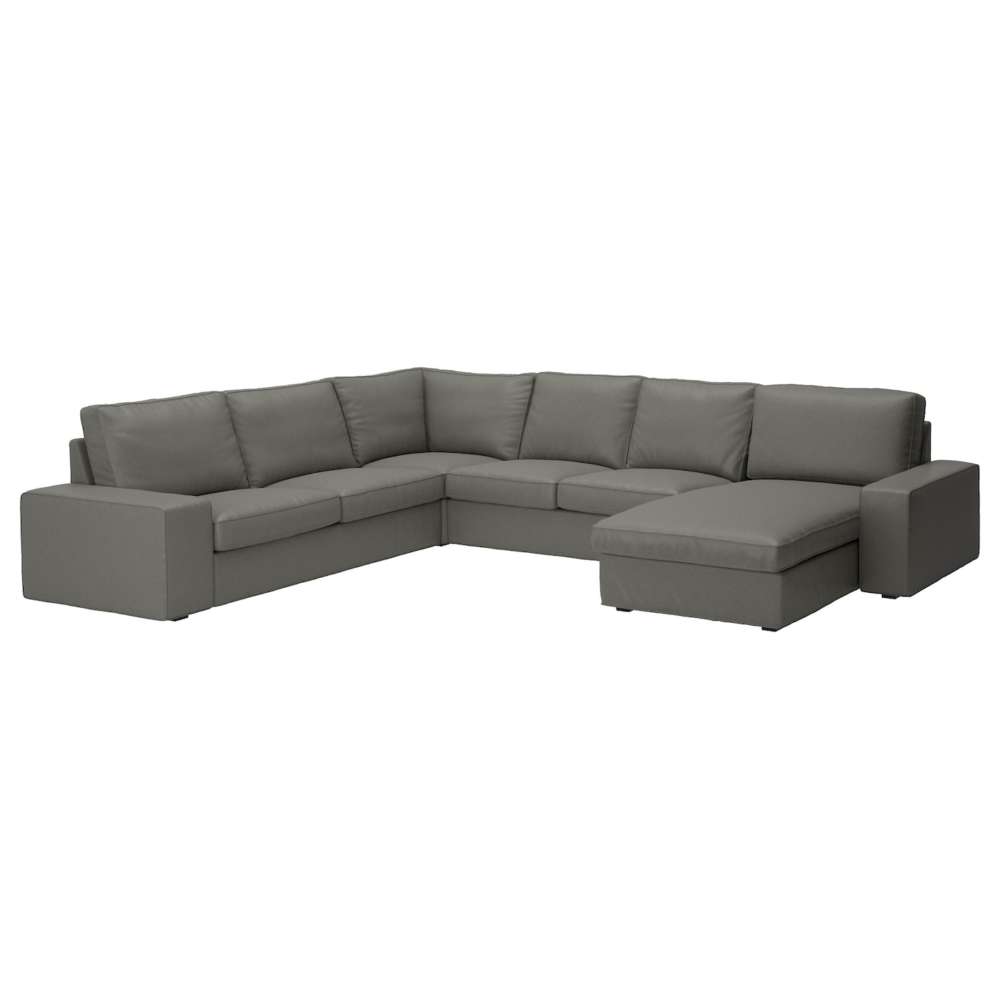 Kivik corner sofa 2 2 with chaise longue borred grey green for Chaise longue jardin ikea