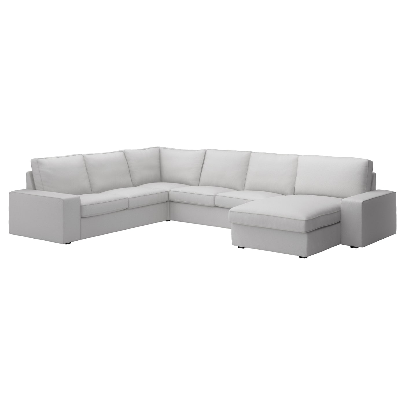 Kivik corner sofa 2 2 with chaise longue ramna light grey for Ikea sofa rosa