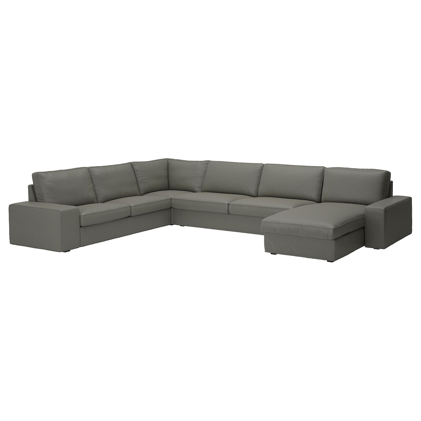 Kivik corner sofa 23 32 and chaise longue borred grey green ikea - Chaise longue jardin ikea ...
