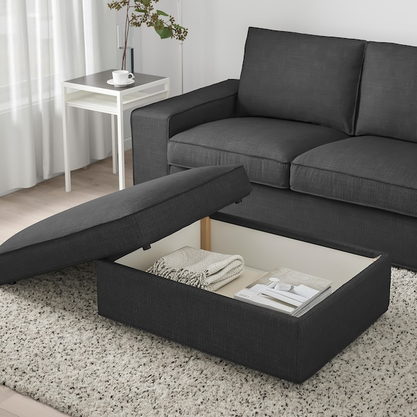 KIVIK Footstool with storage, Hillared anthracite