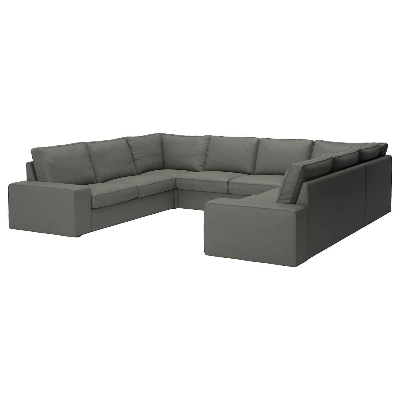 Kivik sofa u shaped 8 seater borred grey green ikea for Sofa en l liquidation