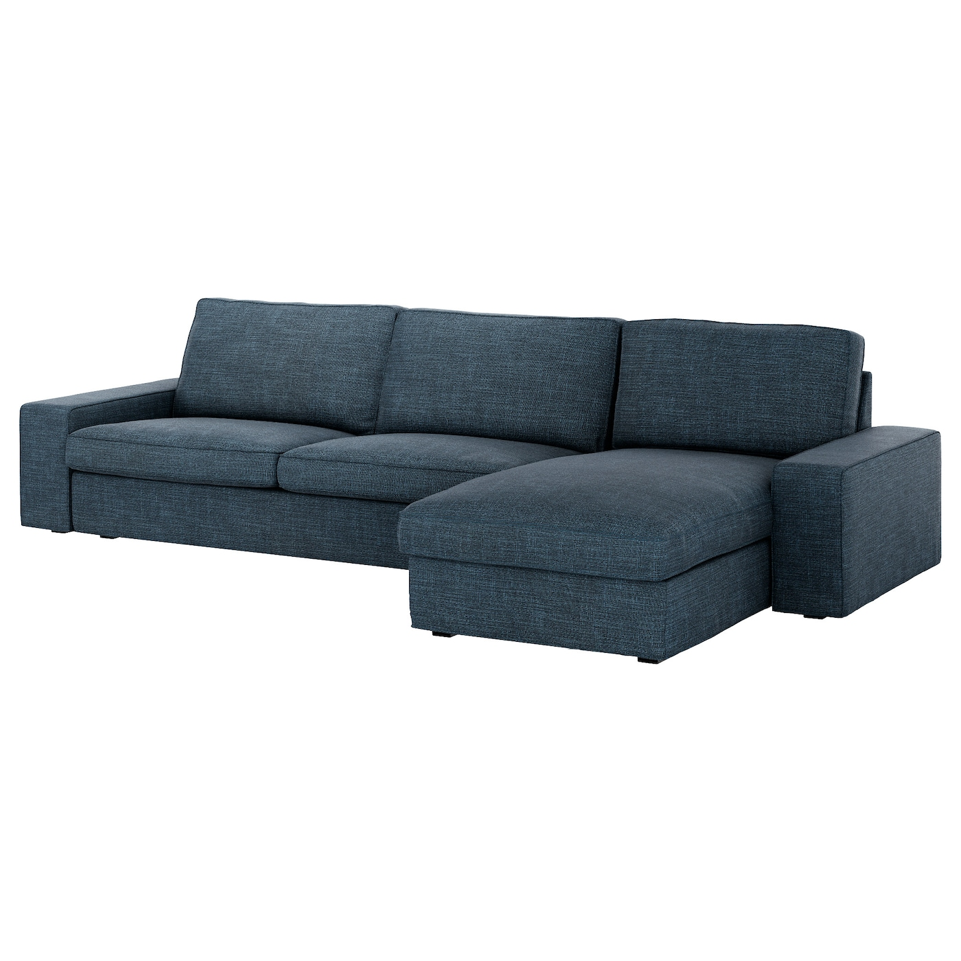 Kivik three seat sofa and chaise longue hillared dark blue for Sofa kivik 3 plazas