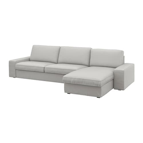 Kivik three seat sofa and chaise longue ramna light grey for Chaise longue couverte ikea