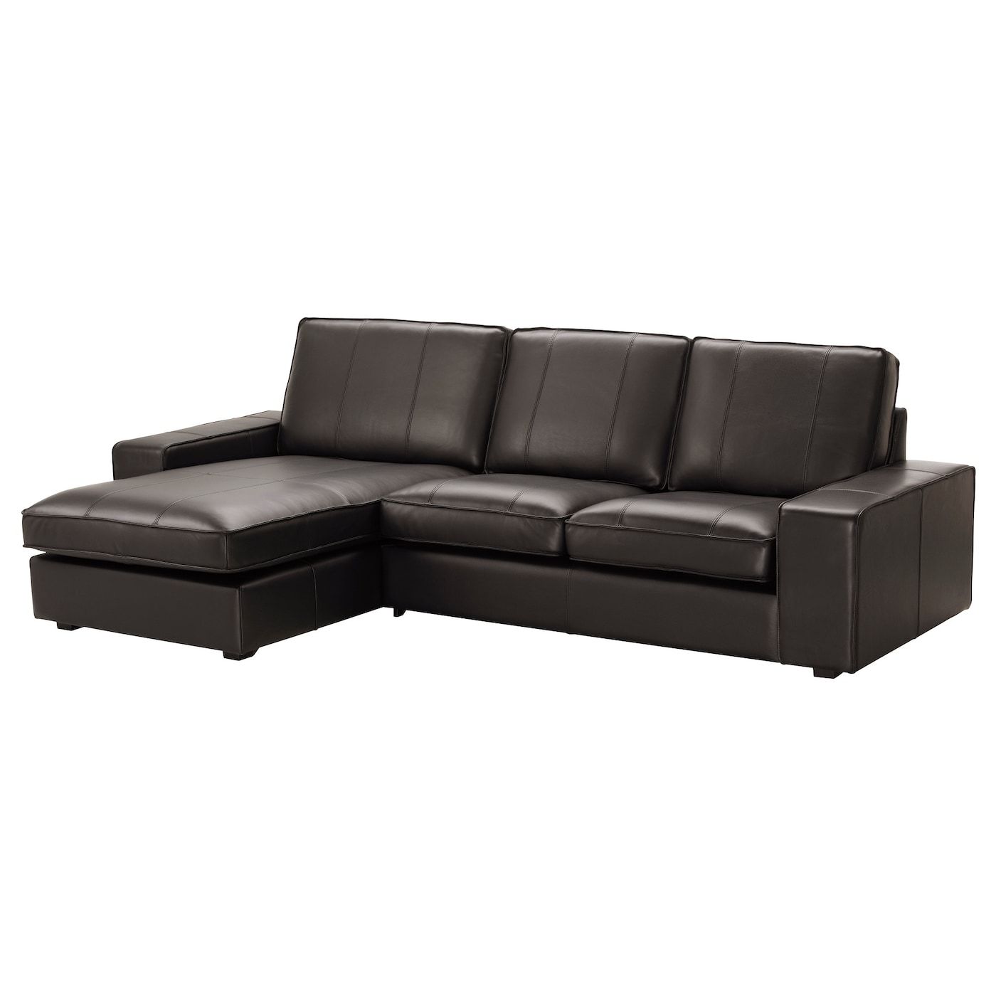 Leather coated fabric sofas ikea for Black leather chaise sofa