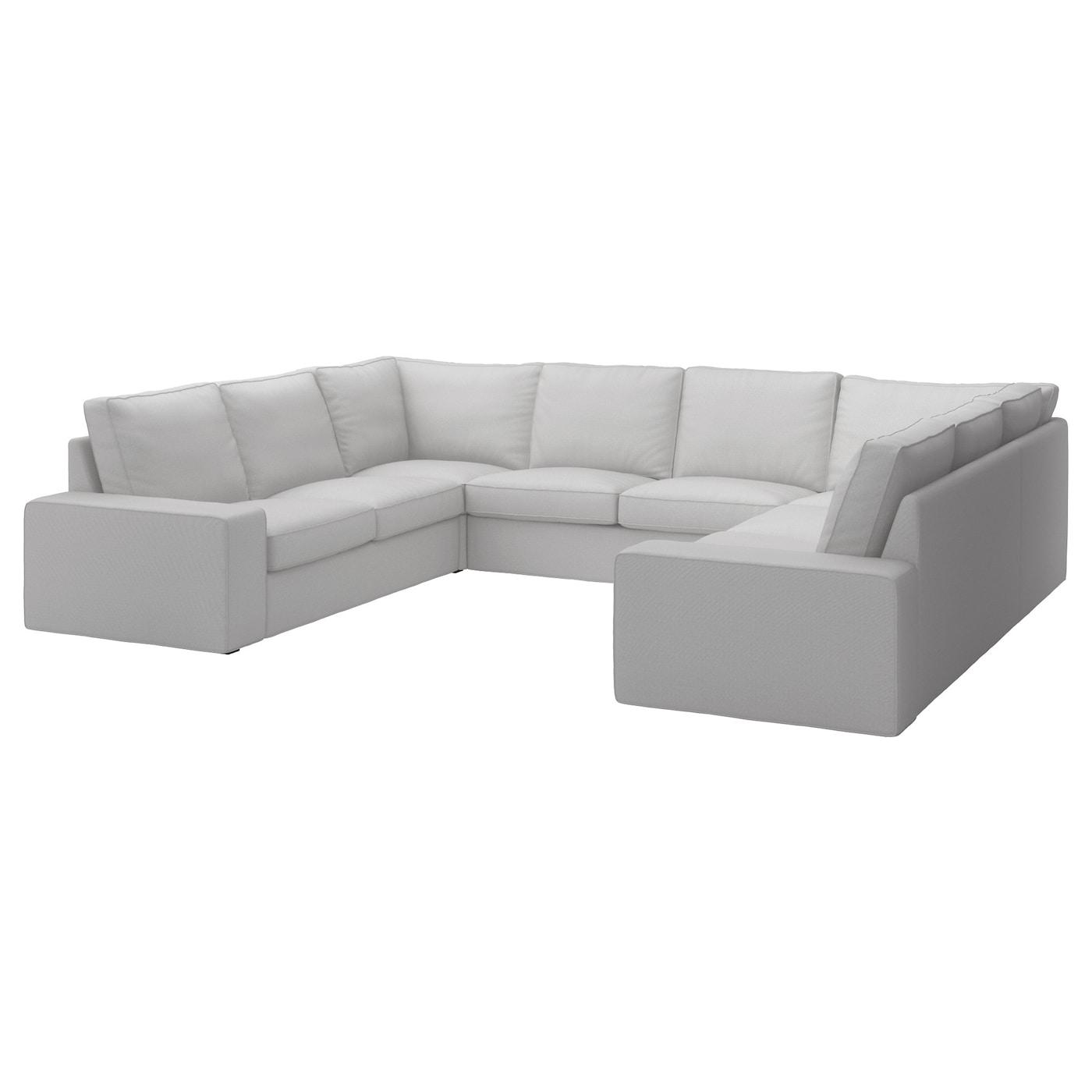 KIVIK U-shaped Sofa, 6 Seat Ramna Light Grey