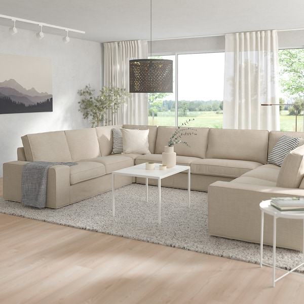 KIVIK U-shaped sofa, 7-seat, Hillared beige