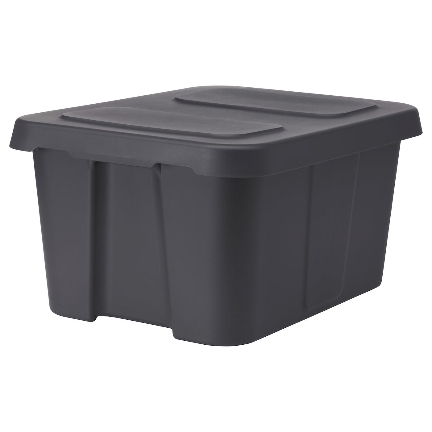 Kl Mtare Box With Lid In Outdoor Dark Grey 58x45x30 Cm Ikea