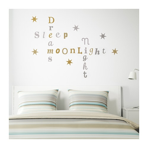 Kl tta decoration stickers metallic letters gold silver - Vinilos decorativos ikea ...